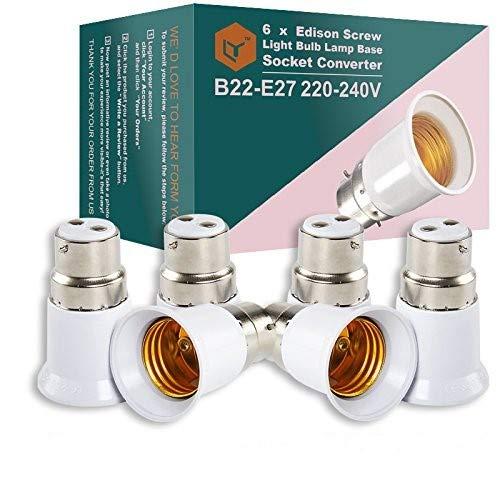 Lot de 6 douilles convertisseuses d'ampoules de douilles à baïonnettes avec couvercle BC B22 en douilles E27 ES Edison à vis - Pour ampoules de 220 à 240 V