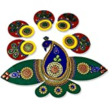 SBD Readymade Beautifully Designed Peacock Shaped Rangoli -Beautifully Embedded With Jewel Stone Decorations , Golden Lace & Red And Green Accents -14 Pieces Set - Packed In Crystal Box