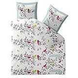 CelinaTex Touchme Funny Biber Bettwäsche 200 x 200 cm 3-teilig weiß grau rot Flauschiger Bettbezug Vogel Motiv 5000054