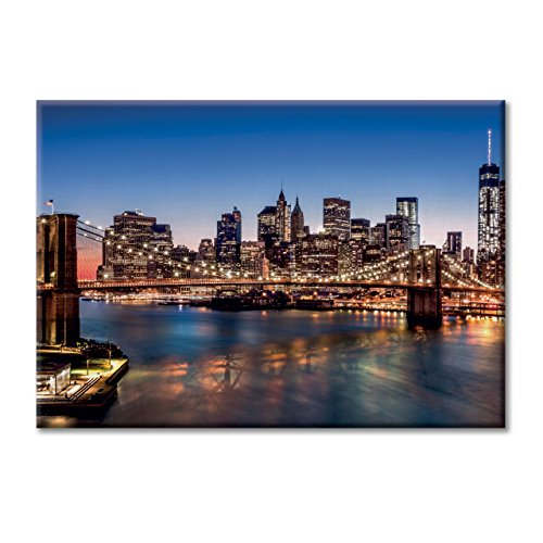 Manhattan Pub (Leinwand-Panel Leinwand USA New York Brooklyn Bridge Manhattan Mobel 100x70)