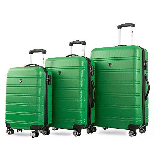 Reisekofferset Hartschalen Kofferset Zwillingsrollen Reisekoffer Set 3tlg. Trolleys mit Zahlenschloss, Gepäck mit 4 Doppel-Rollen, Set-XL-L-M (Grün)
