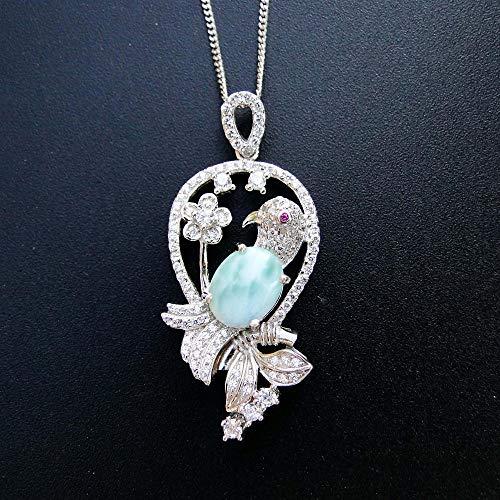Hioowiu 925 Sterling Silber Larimar Anhänger Papagei Blume Charms natürliche Larimar Schmuck Anhänger für Frauen ohne Kette (Larimar-schmuck)