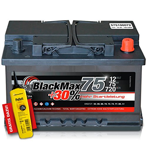 Preisvergleich Produktbild BlackMax+30% - 12 V / 75 Ah - 720 A/EN Autobatterie KFZ PKW Batterie inkl. Polfett