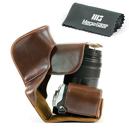 MegaGear Fotocamera Custodia Pelle Borsa Per Panasonic Lumix DMC-GX8 Fotocamera Digitale Compatte con obiettivo 14-140mm (Scuro Marrone)