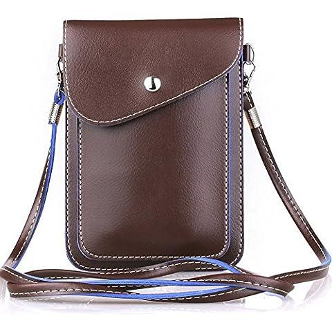 Yeelan Pouch Bag universale Phone con una cinghia per il vario mobile di dimensioni inferiori a 6,3 pollici, Cuoio (marrone)