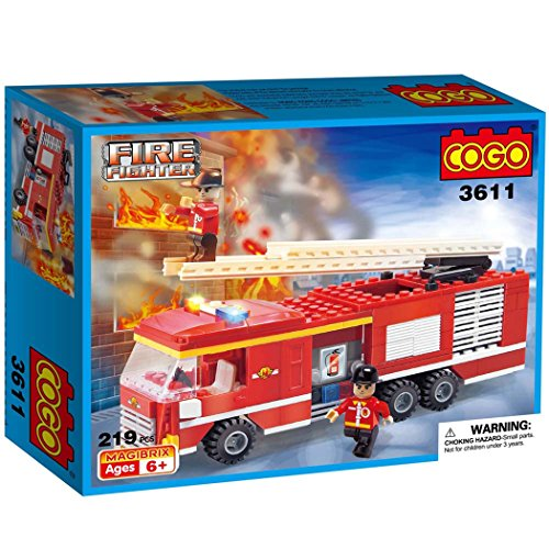 COGO-3611C-219-pcs-City-Firefighter-Fire-Brigade-Engine-Ladder-Unit-Fire-Truck-Mixed-Fire-Emergency-Construction-Toys-Vehicle-Gift-Construction-Fireman-Building-Blocks-Toys-Brick-Play-Set