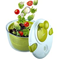 OVOS Centrifugadora para ensaladas Grande 5 Cuartos de galón Frutas y hortalizas Secadora diseño de Secado rápido BPA Libre secar y drenar Lechuga y verdura
