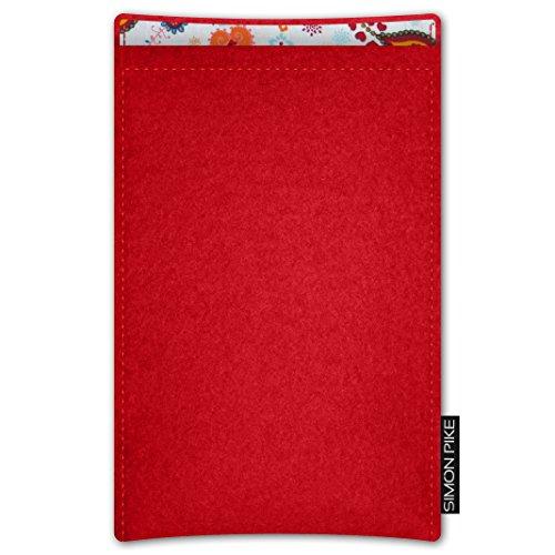 SIMON PIKE AppleiPhone 7 / 6 / 6S Filztasche Case Hülle 'Boston' in anthrazit1, passgenau maßgefertigte Filz Schutzhülle aus echtem Natur Wollfilz, dünne Tasche im schlanken Slim Fit Design für das iP rot Filz (Muster 10)