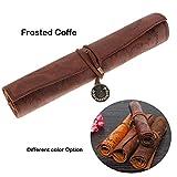 lanaso Retro Leder Vintage Scroll Schatzkarte pencail Fall Rolle bis Bleistift Tasche Tasche für die Stationery (Frosted Coffe)