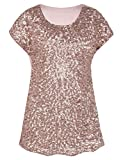 PrettyGuide Damen Abend Oberteile Funkeln Schimmer Glam Pailletten Bluse Rosé Gold S/EU38-40