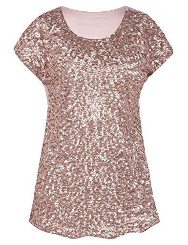 38db0f8c9e622b PrettyGuide Damen Pailletten Bluse Loose Fit Auffällig Party Tops Dolman  Ärmel Rosé Gold M/EU42-44