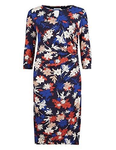 marks-spencer-rosso-grigio-blu-fiori-stampato-stretch-schift-vestito-3-4-maniche-multicolore-42