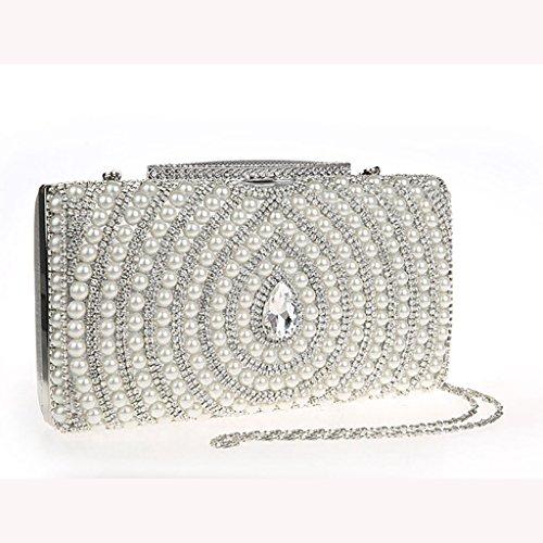 Le nuove borse di diamante della moda perline pochette sposa sacchetto di banchetto borsa da sera ( Colore : Silver ) Silver