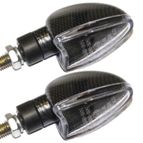 Ryde - Indicatori di direzione a lampadina con attacco corto per motoveicoli - Carbonato