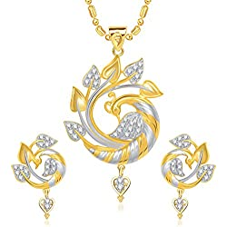 V. K. Jewels Beautiful Feathers Gold Brass Alloy Cz American Diamond Pendant Jewellery Set For Women