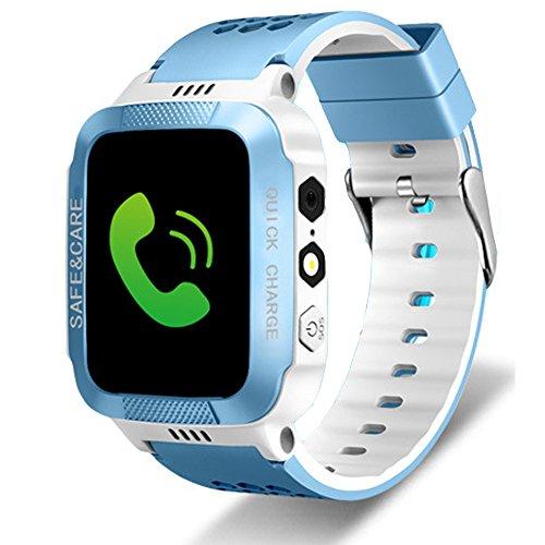 Tounique Reloj inteligente para niños con 2 vías de llamada, rastreador GPS, control de cámara, juegos, flash de luz nocturna, antipérdida, SOS, pulsera para iPhone, Android, Smartphone Blue+white Ty2