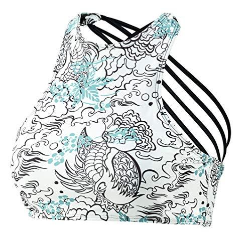Beco Damen Sportlicher High Neck Top, mit Gekreuzten Spaghettiträgern, herausnehmbare Pads, B Cup Bikini, weiß/Bunt, 42