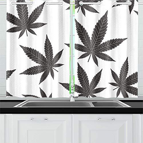 QIAOLII Blätter Küche Vorhänge Fenster Vorhang Ebenen für Café, Bad, Wäscheservice, Wohnzimmer Schlafzimmer 26 x 39 Zoll 2 Stück -