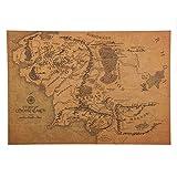 WAY2BB Mapa Vintage de la Tierra Media, Señor de los Anillos