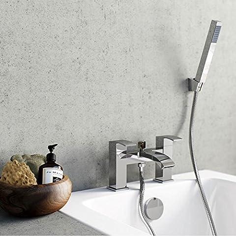 ENKI Waterfall Bath Mixer Filler Tap with Shower Bathroom Chrome Deck Mounted CASCADE