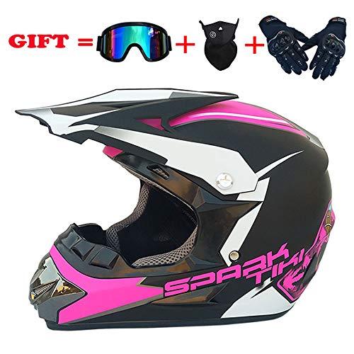 ZJRA Spark Pink/Motocross Helm, Beach Racing Dirt Bike Helm Erwachsene MX Fox Männer Und Frauen ATV, DOT (Handschuhe, Schutzbrillen, Masken, 4Er-Set),S54~55cm (Helme Racing Dirt Bike Fox)