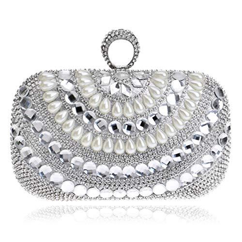 MKHDD Damen Abendtasche mit Perlen-Diamanten, Mini-Schulter-Umhängetasche, Brautkleid, Bankett,...