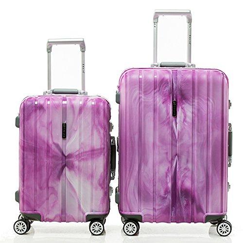 SHAIK® SH008 Designer Koffer Serie Marble - DEL 2X TSA Schloss Material Polyphthalamide (Grau, Set) (Lila)