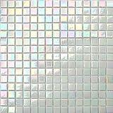 33x33cm Irisierende Perlmutt Weiß Schimmerndes Glas Schwimmbad Mosaik Fliesen Poolmosaik Matte (MT0131)