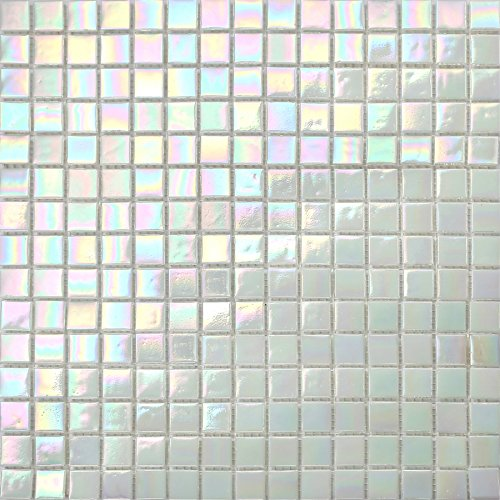 32.7cm x 32.7cm White Iridescent Vitreous Glass Mosaic Tiles Sheet (MT0131)