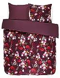 Essenza Satin-Bettwäsche Miros, Farbe Red 155x220cm+80x80 / 100% Baumwoll-Bettwäsche mit Reißverschluss / hochwertige Bezüge mit tollem Design