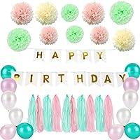 Zerodis Decoraciones de Cumpleaños, Letras de Oro Borla De La Bandera y Borlas de Papel Bolas de Flores Decoraciones de Fiesta de Cumpleaños Perfecto Suministros