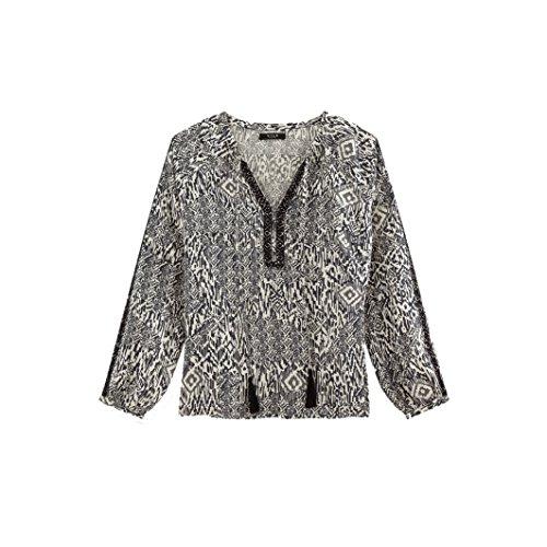 VILA CLOTHES VIETNO L/S TOP, Maglia a maniche lunghe Donna, Multicolore (Ebony), 34 (Taglia Produttore: X-Small)