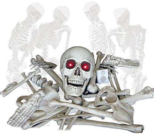 Halloween Skelett Teile mit Licht Sound und Bewegungsmelder der auch bei absoluter Dunkelheit funktioniert