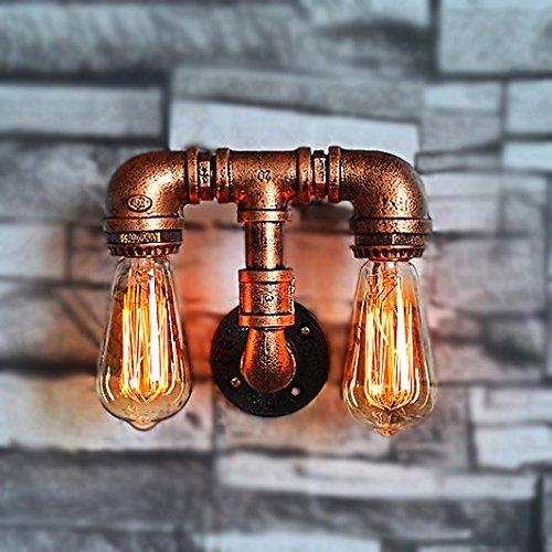 Crayom Vintage Industrial Steampunk Pfeifen Eisen Double Head Wandleuchte 2 Lampen Design Wasser Rohr Wandleuchte High: 19 cm (Schlafzimmer Kitty Lampen Hello Für)