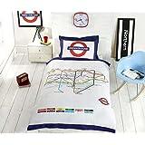 Underground London Tube Duvet Cover and Pillowcase Bedding Bed Set - Single, White