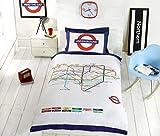 Transport for London, TfL London Underground-Set copripiumino e federe, letto singolo, colore: bianco