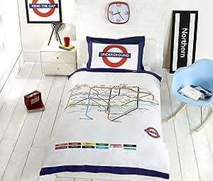 London Underground Tube Housse de couette et taie d'oreiller Parure de lit–Lit Simple, blanc