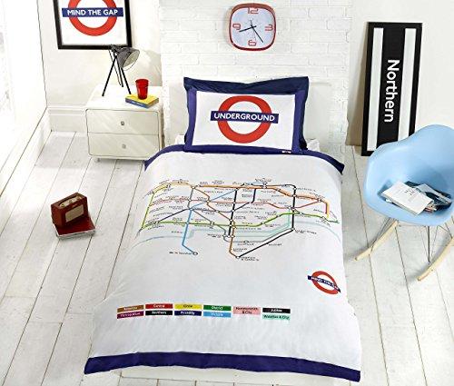 London Underground Tube Housse de Couette et taie d'oreiller Parure de lit-Lit Simple, Blanc
