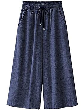 Mujeres Ancho Pierna Palazzo Cropped Pantalones Cintura Elástica Tallas Grandes