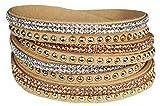 Mevina Damen Strass Armband Wickelarmband Armschmuck mit echten Kristallen in viele Farben Beige A1106