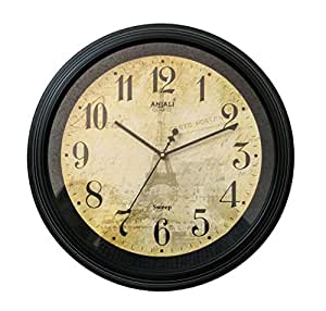 Anjali Quartz Wall Clock 5157 ROUND Shaped (BROWN) and one KIDs watch Free