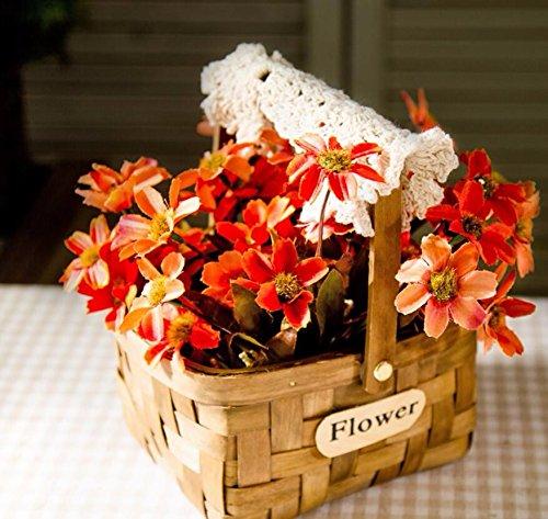 Llpxcc fiori artificiali creative arredamenti per la casa tavolo da pranzo soggiorno moderno minimalista in stile europeo fiori decorativi americano tessitura a mano e cesti di fiori mazzi di fiori secchi natale crisantemo rosso