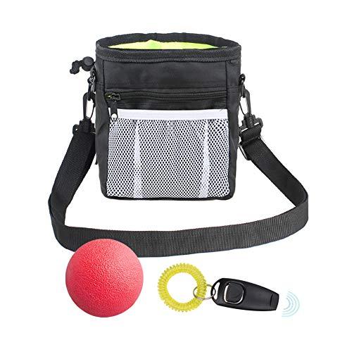 EQLEF Futterbeutel Hunde Training Training Dog Walking Bag, Leckereien Spielzeug Tragetasche Poop Bag Dispenser Metallclip Verstellbarer Hüftgurt Treat Bag mit Toy Ball und Training Clicker