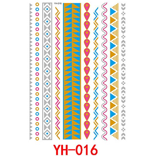 Handaxian Wasserdichter heißer stempelnder Tätowierungsaufklebermetalltätowierungsaufkleber YH-016 4pcs (Hat Tams Herren)