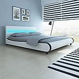 Shechic Bett mit LED-Leiste am Kopfteil 180 cm + Matratze