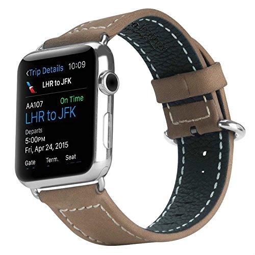 Hoco - Correa para Apple Watch, correa de reloj de piel auténtica, reemplazo para correa de Apple Watch, pulsera de reloj con hebilla metálica (39 mm, marrón)