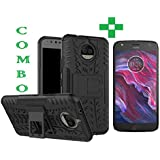 Motorola Moto X4, Tempered Glass+ Back Cover, (Combo) Perfect Fit Hybrid Shockproof Tyre Case Heavy Duty Kik-Stand Rugged DeskStand Back Case Cover For Moto X4