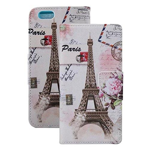 Etche Schutzhülle für iPhone 6S/6 4.7 Zoll Ledertasche,iPhone 6S/6 4.7 Zoll HandyHülle bunt Muster,iPhone 6S/6 4.7 Zoll wallet Schutzhülle, niedlich bunt kreativ hübsch Blumen Flip Cover PU Leder Case Eiffelturm Blume