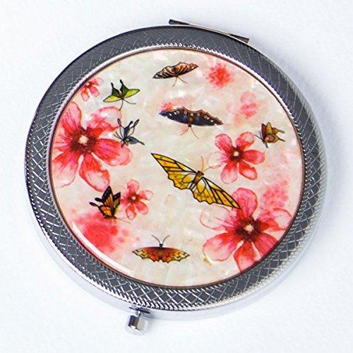 Mère de perle rose fleur jaune Papillon Bouton Poussoir Rond Grossissant Double Compact Sac à Main Sac à Main Poche Maquillage Miroir à main
