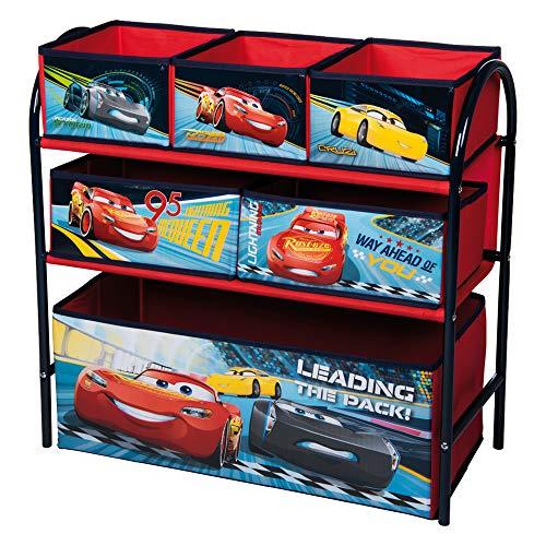Urbn toys, scaffale a 6 cassetti, in metallo, motivo disney e marvel, 65 x 28 x 63 cm, scatole per la conservazione dei giocattoli, 3 opzioni disponibili cars 3